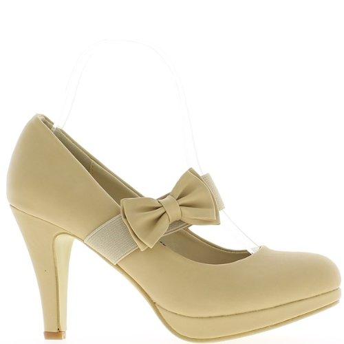 Beige closed pumps heels 9cm, plateau and setting node