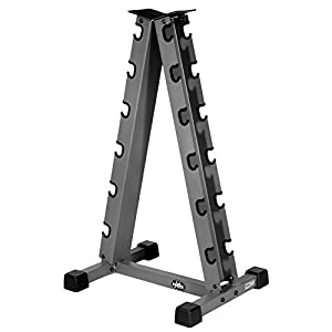 XMark Heavy Duty A Frame Vertical Dumbbell Rack Stores Six Pair of Dumbbells
