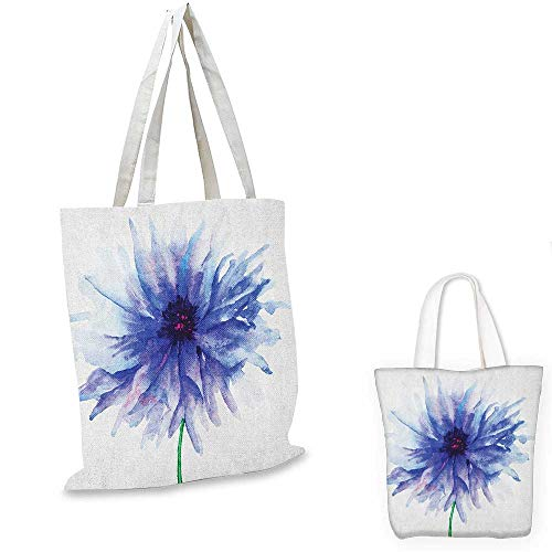Personalized Petite Tote Bag - Watercolor Flower fashion shopping tote bag Single Large Petite Cornflower Plain Background Mother Earth Paint canvas bag shopping Navy Blue White. 12