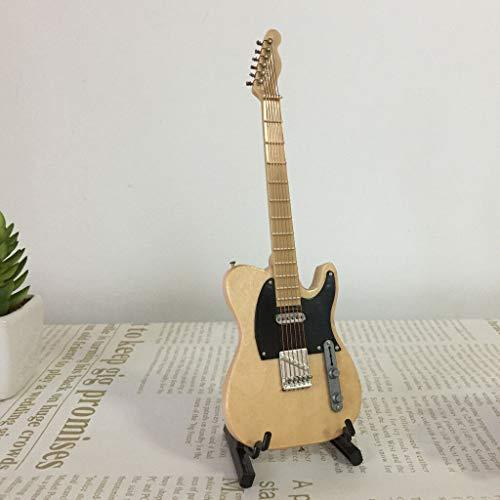 (NATFUR Wooden Mini Instrument Guitar w/Box Stand for Dollhouse Decor 1:6 Beige)