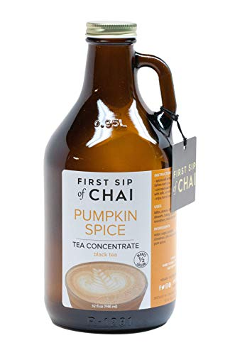 The Spice Hut First Sip of Chai - Pumpkin Spice Tea Concentrate in Amber Reusable Glass Growler - 32 oz. Makes 1/2 Gallon, 32 -