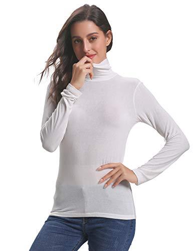 Longues pull Hauts Manches Pull Basique Sous Femme Col Blanc Chic À Top Roulé Abollria Femmes xHwvZv