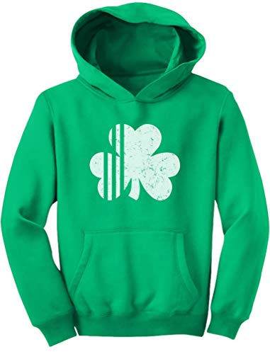(TeeStars - Saint Patrick's Day Irish Shamrock Cute Faded Clover Youth Hoodie Large Green)