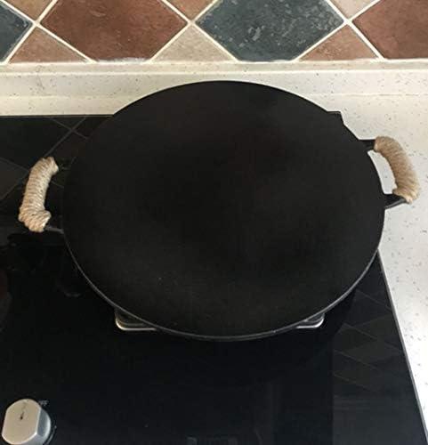 ZHNA Poêle à Frire Plate en Fonte antiadhésive de 34 cm, avec poêle à crêpes et à crêpes, 2 poignées, avec épandeur à pâte