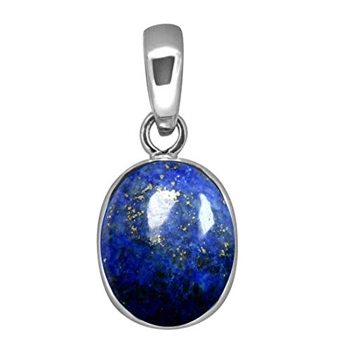55Carat Brand Lapis Lazuli Natural Simple Pendant 8 Carat Oval Shape Stone Sterling Silver Locket Charm ()