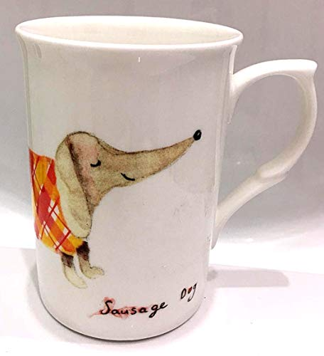 Dog Lover Dachshund (Sausage Dog) Mug for Coffee, Tea, Latte | Fine Bone China | Rose of ()