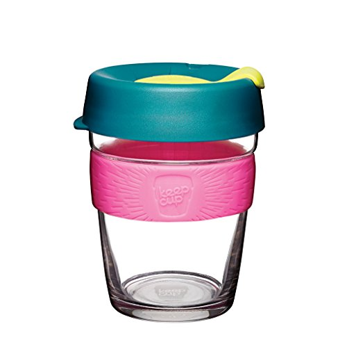 KeepCup 12oz Reusable Coffee Cup. Toughened Glass Cup & Non-Slip Silicone Band. 12-Ounce/Medium, Metal
