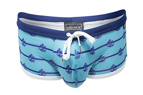 Marina Trunk, Anchor Stripe Print, Medium by Andrew Christian