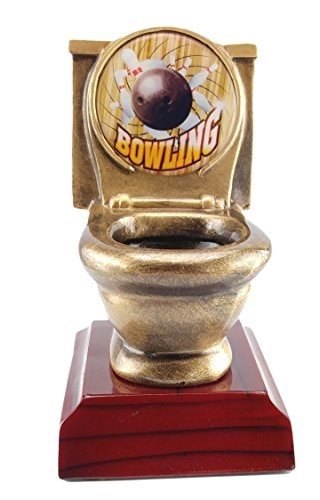 Decade Awards Bowling Toilet Bowl Trophy - Gold | Bowler Last Place Award | 5 Inch - Free Engraved Plate on Request