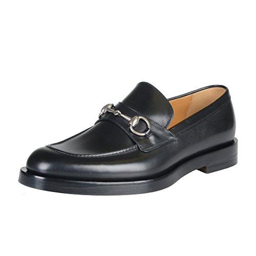 Gucci-Mens-Black-Leather-Slip-On-Loafers-Moccasins-Shoes