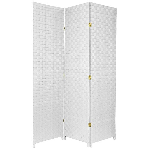 ORIENTAL FURNITURE 6 ft. Tall Woven Fiber Outdoor All Weather Room Divider - 3 Panel - White