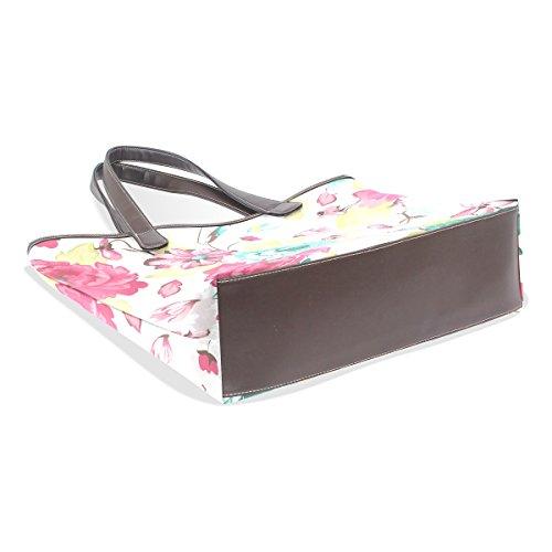 Tracolla Pu Borsa 33x45x13 L Grande Fiori Leather Impugnatura Bag Coosun Womens Acquerello Tote Muticolour A Cm w0XIH