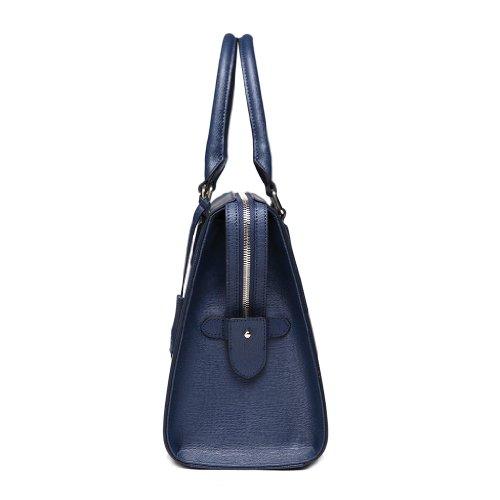 "DUDU - Borse Bowling, Shopping Bag, Borsa in Vera Pelle, ""Milano"" 24x30x15 (blu cobalto)"