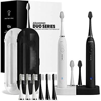 AquaSonic DUO - Dual Handle Ultra Whitening Electric ToothBrushes - 40,000 VPM Motor & Wireless Charging - 3 Modes with Smart Timer - 10 DuPont Brush Heads & 2 Travel Cases Included