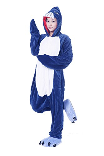 [FashionFits Unisex Jumpsuit One Piece Shark Pajama Loungewear Costume Cosplay XL] (Animal Suits For Adults)