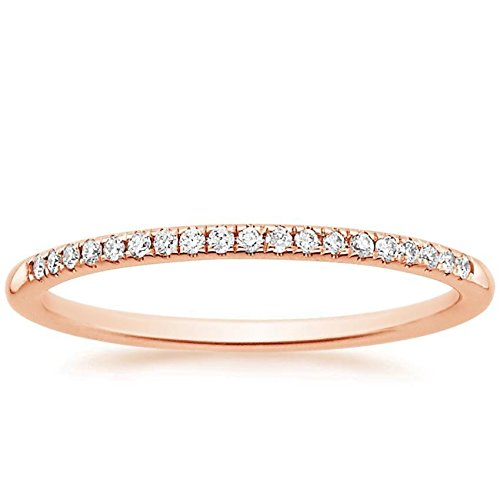 Clara Pucci 0.85 ct Brilliant Round Cut Wedding Promise Bridal Engagement Band in Solid 14K Rose Gold, Size 10.25