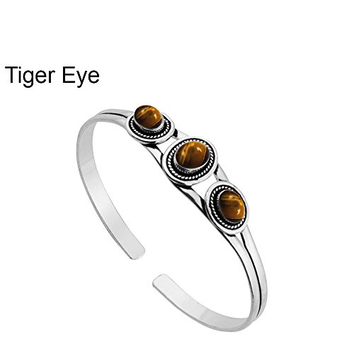 5.45ctw,Genuine Tiger Eye & 925 Silver Plated Bangle Made By Sterling Silver Jewelry