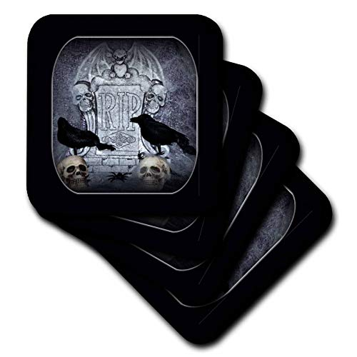 (3dRose WhiteOak RIP with Crow Halloween Skull Design Coaster, Set of)