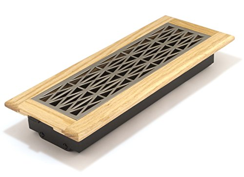Accord GTOSN412 Oak Frame Floor Register with Trellis Design, 4-Inch x 12-Inch (Duct Opening Measurements), Satin Nickel