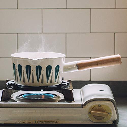 QWERASD 1L Enamel Milk Pot Leaves Pattern Baby Food Cooking Pot Pan Skillet Wooden Handle Small Soup Pot Oil Fryer