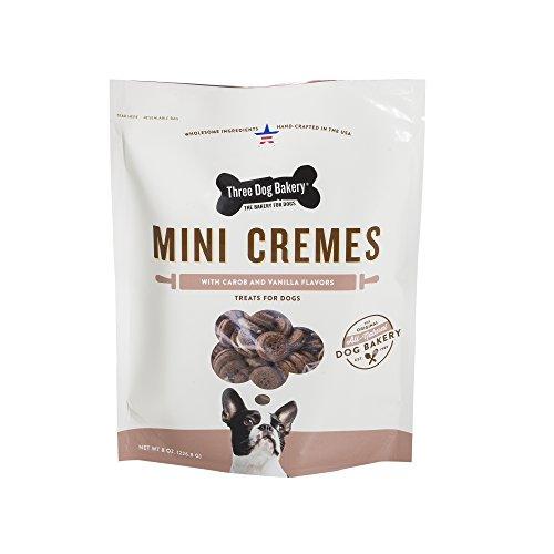 Paw Creme - Three Dog Bakery Classic Cremes Minis Baked Dog Treats, Carob with Vanilla Filling, 8 oz