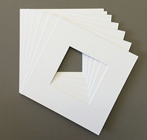 Pack of 10 12x12 Square White Picture Mats with White Core Bevel Cut for 8x8 Pictures by bux1 picture matting