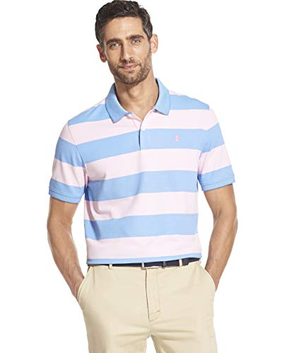 IZOD Men's Slim Fit Advantage Performance Short Sleeve Stripe Polo, Candy Pink, XX-Large Slim
