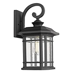 """Emliviar Outdoor Wall Lights for House, 1-Light Exterior Wall Sconce Black Finish with Clear Seeded Glass, 17"""" Height, 22021M"""