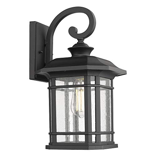 Emliviar Outdoor Wall Lights for House, 1-Light Exterior Wall Sconce Black Finish with Clear Seeded Glass, 17