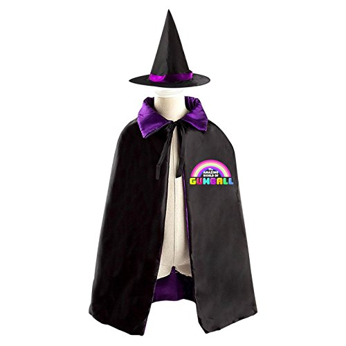 Darwin Gumball Costume (Halloween Costumes Witch Gumball Wizard Reversible Cloak With Hat Kids Boys Girls)