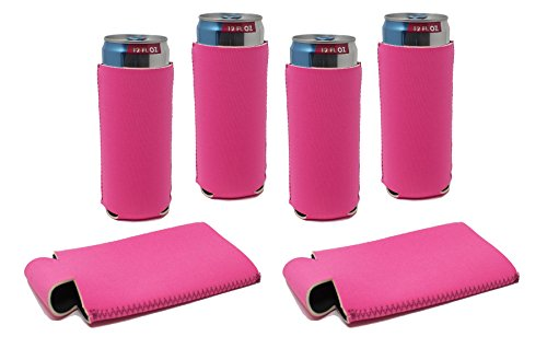 TahoeBay Slim Can Sleeves - Hot Pink Neoprene Beer Coolies - Blank Energy Drink Coolers – Compatible with 12oz RedBull, Michelob Ultra, Spiked Seltzer (Hot Pink, 6) ()