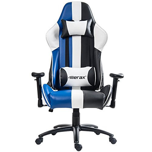 Merax Justice Series Racing Style Gaming Chair Ergonomic High Back PU Leather (Blue) by Merax