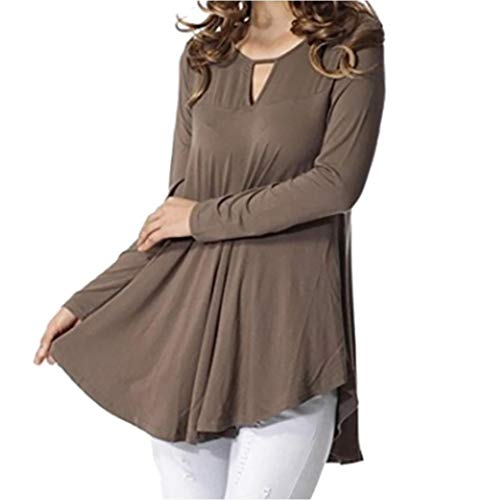 Henleys,Toimoth Women Loose Solid Long Sleeve O Neck Hollow Out Long Blouse Casual Tops Shirts(Khaki,S)