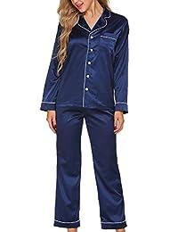 Ekouaer Women's Satin Sleepwear Long Sleeve Two Piece Pajama Set S-XXL