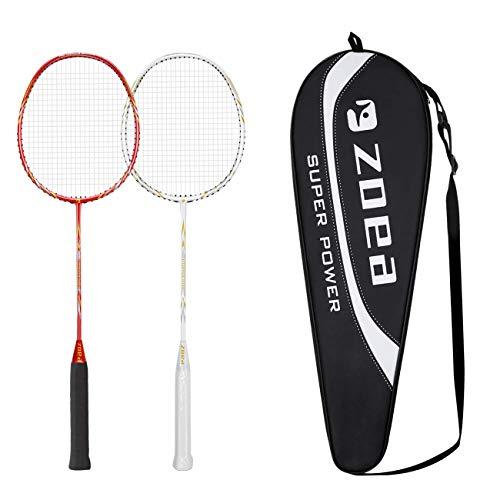 ZOEA High Tension String Badminton Rackets Set 100% Full Carbon Fiber Shaft Badminton Racquets Outdoor Indoor Badminton Racket Graphite Professional Racket Grip Racket Cover Bag for Women Men