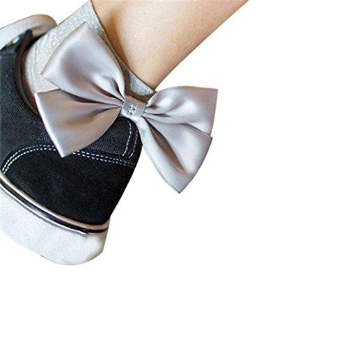 Price comparison product image Fishnet Socks, Sexy Women Socks Shine Bow-not Ankle High Socks Mesh Short Socks (Silver)