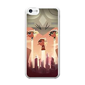 Grouden R Create and Design Phone Case,PowerPuff Girls Cell Phone Case for iPhone 5C White + Tempered Glass Screen Protector (Free) GHL-2974564