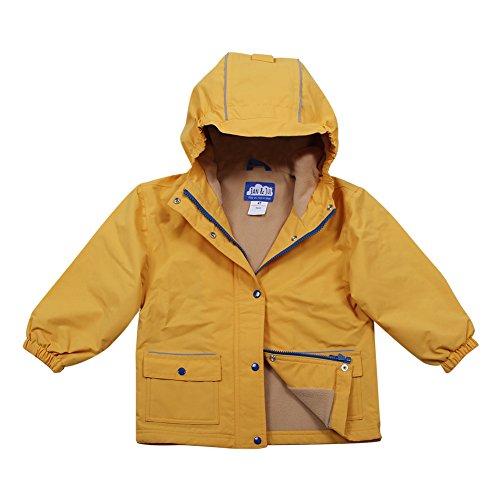 (JAN & JUL Kids Water-Proof Fleece-Lined Rain-Coat Jacket Hooded (Yellow, 3T))