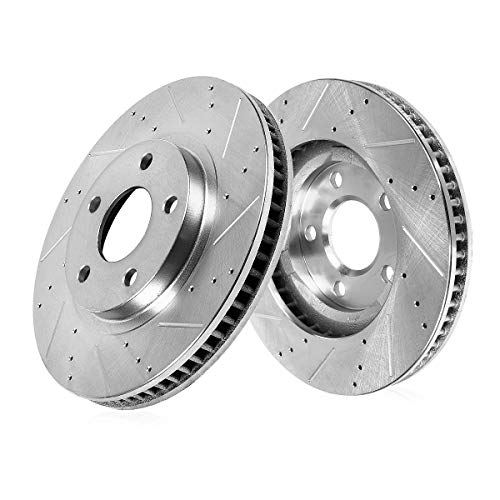 Callahan CDS03430 FRONT 347.94mm Drilled & Slotted 5 Lug [2] Rotors [ for BMW 535 550 650 740 Series ]