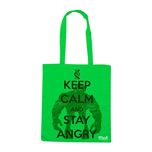 Borsa Keep Calm And Stay Angry - Verde prato - Film by Mush Dress Your Style