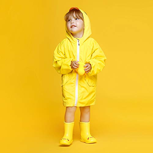Image of DKSUKO Toddler Kids Rain Boots Waterproof Cartoon Yellow Rubber Booties Ankle Short Rain Shoes Baby Girl Size 6-13