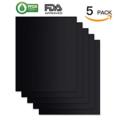 WINSEE BBQ Grill Mat Set of 5, Non-stick Cooking Mats FDA-Approved, PFOA Free, Reusable and Easy to Clean 15.75 X 13 Inch Black by WINSEE