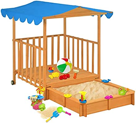 UnfadeMemory Casa Jardin Niños de Madera con Caja de Arena y Techo,Casa de Juegos para Niños,Regalo de Cumpleaños y Navidad,130x130x143cm: Amazon.es: Hogar