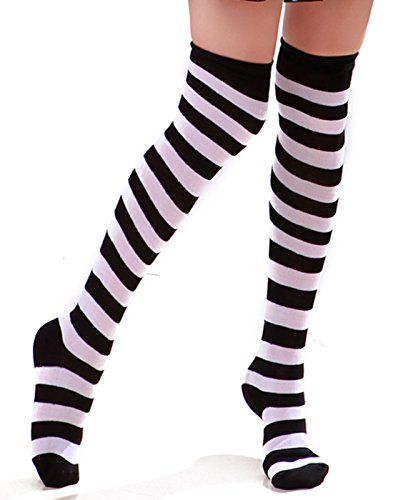 Women's Extra Long Striped Socks Over Knee High Opaque Stockings (Black & White) ()