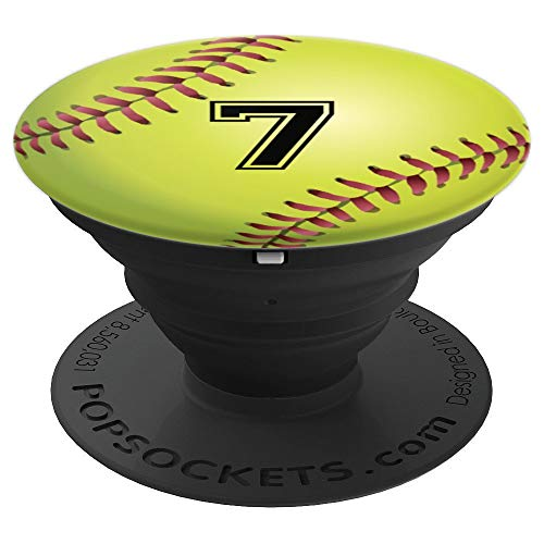 "Softball Player Ball Sport Jersey No 7 ""7"" Men Women Gift  PopSockets Grip and Stand for Phones and Tablets"