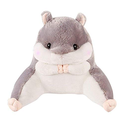 zc Hamster Vole Plush Toy Backrest Pillow - Stuffed Sitting Support Bed Pillow Great as Backrest for Books or Gaming (Grey, Large)