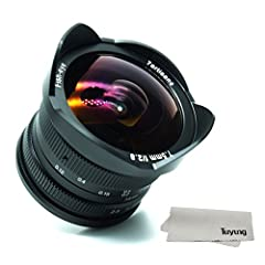 Specifications:       Model: 7artisans 7.5mm-F2.8       Full frame available: no, APS-C fisheye lens       Compatible camera mount: for Sony E-mount,cameras       Focus Scale: F2.8-22       Closest focus distance: 0.12m       Aperture ...