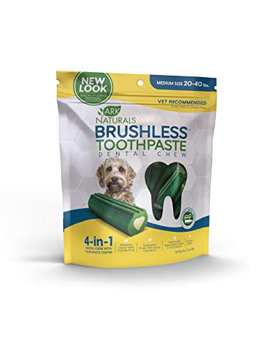 - Ark Naturals Brushless Toothpaste, Vet Recommended Natural Dental Chews for Medium Dogs, Plaque, Tartar and Bacteria Control