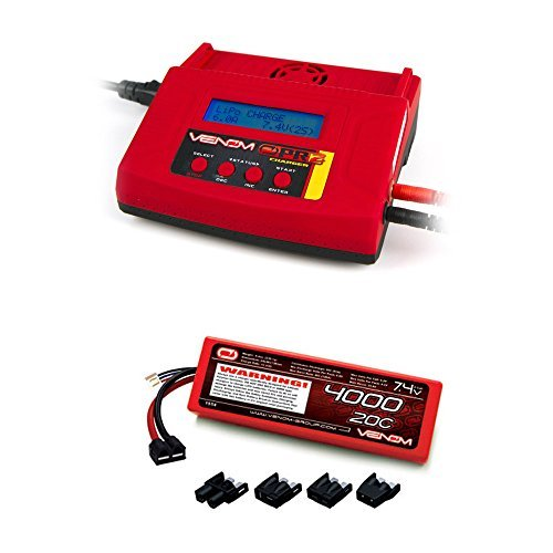 Venom 20C 2S 4000mAh 7.4V Hard Case LiPo Battery with Universal Plug System and Venom Pro Charger 2 LiPo and NiMH Battery Charger Combo (Thunder Charger Power Battery)