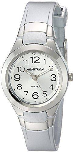 Armitron Sport Women's 25/6418SIL Easy To Read Dial Silver-Tone Resin Strap Watch